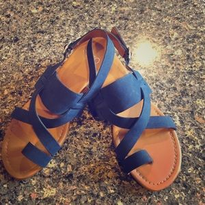 Franco Sarto-Suede Leather cross over sandals. S 7